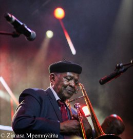 Jazz legend, Jonas Gwangwa at the 18th Cape Town International Jazz Festival